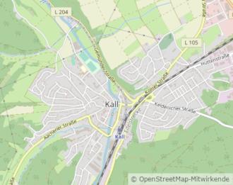 Kartenausschnitt Kall auf OpenStreetMap